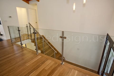 stainless steel glass railing interior residential