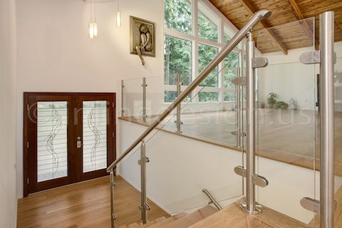 stainless steel glass railing post round
