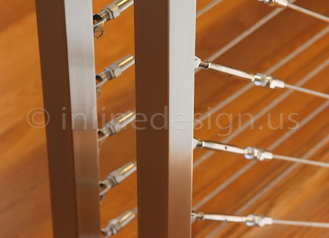 stainless steel cable railing stairs middle post