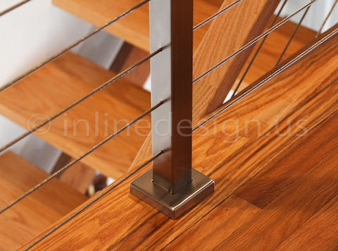 stainless steel cable railing stairs underside