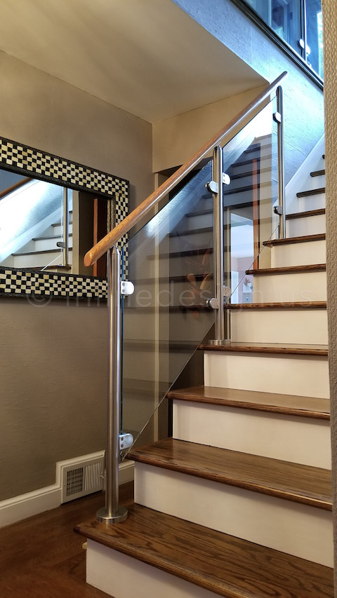 stairs wood handrail