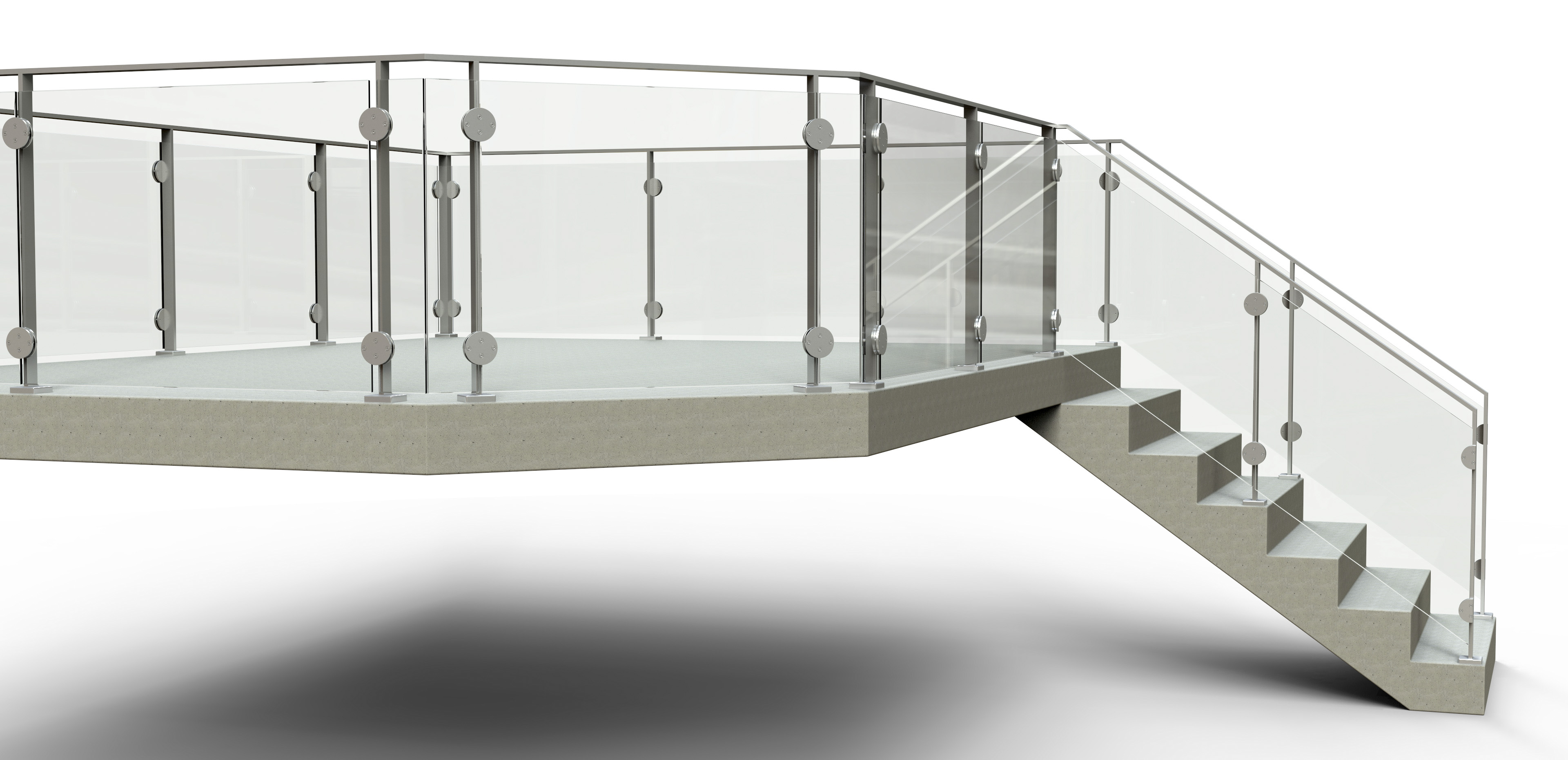 railing Arcadia Floor Glass 36.154