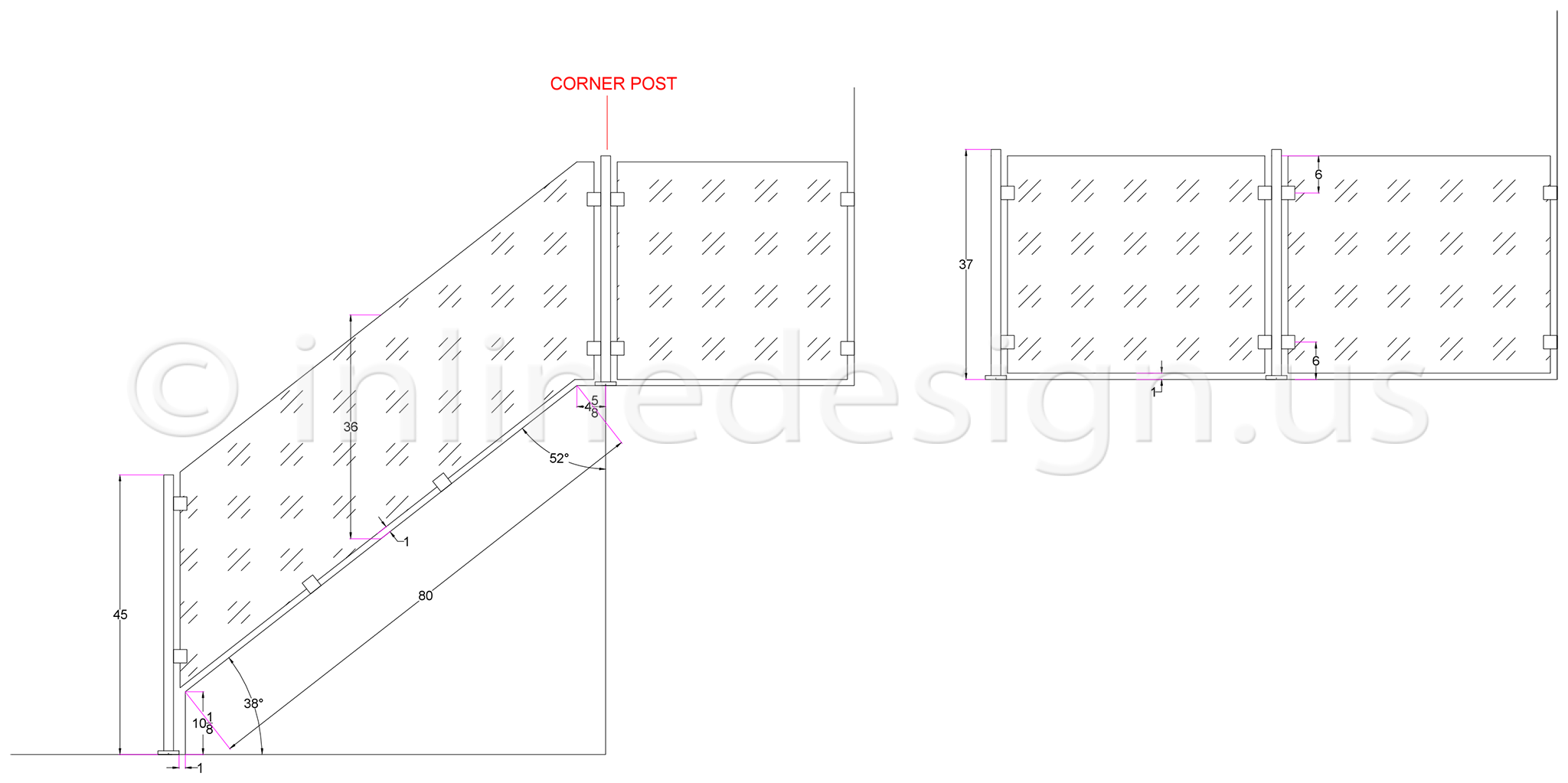 In Line Design : Cad drawings modern stainless steel cable and glass