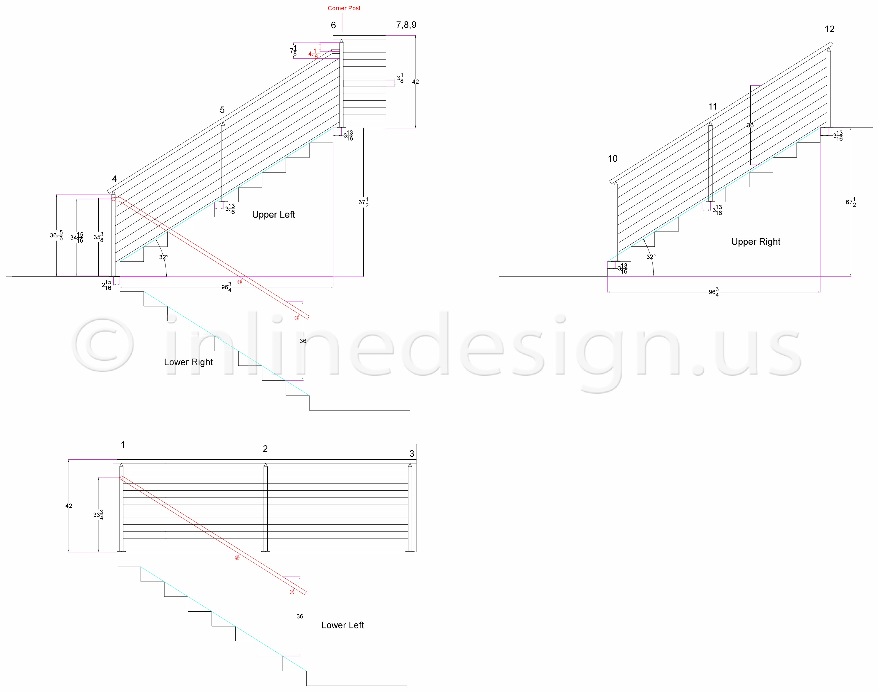 CAD Drawings - Modern Stainless Steel Cable and Glass