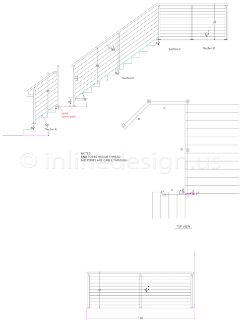 Jerzy custom cable rail stairs handrail