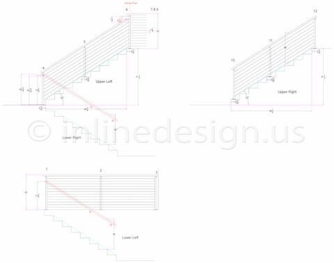 stainless steel square cable side mount handrail