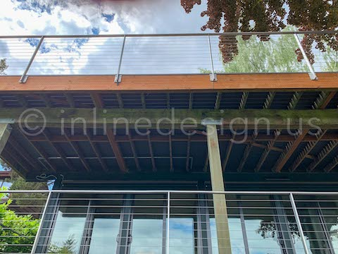 upper view deck railing