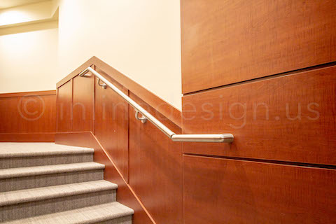 high end wood wall handrail