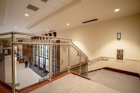 stairs railing system in glass