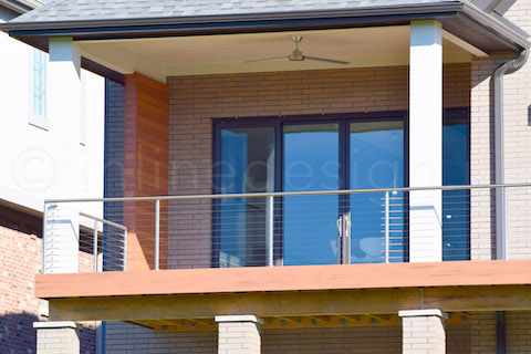 A close up of the steel deck railing