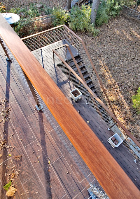 stainless steel railing cable stairs wood