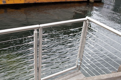 stainless steel cable railing gate corner round