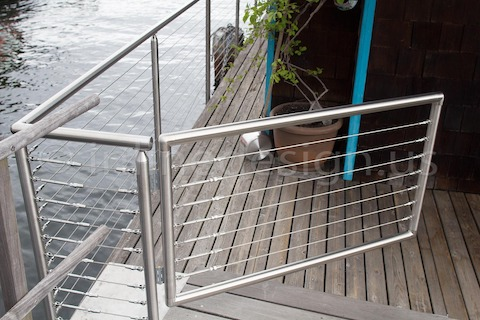 stainless steel cable railing gate round