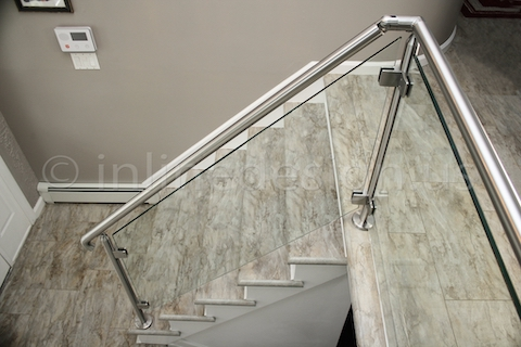 stainless steel Virginia Round Glass Railing clamps view