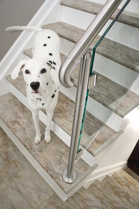 stainless steel Virginia Round Glass Railing end cap curved