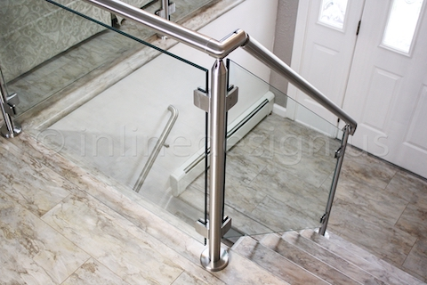 stainless steel Virginia Round Glass Railing flush angle adjustable