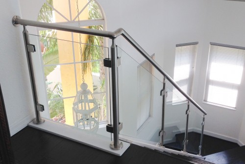 stainless steel glass railing stairs living