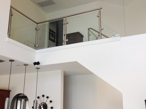 stainless steel railing glass stairs balcony