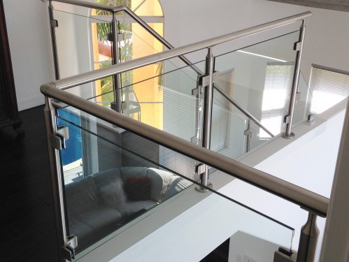 stainless steel railing glass stairs couch