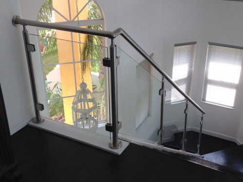 stainless steel railing glass stairs indoor