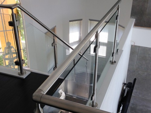 stainless steel railing glass stairs living
