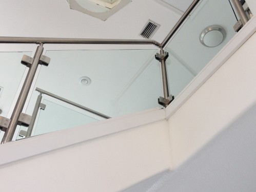 stainless steel railing glass stairs white
