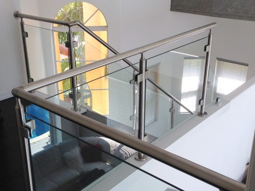 stainless steel railing glass stairs