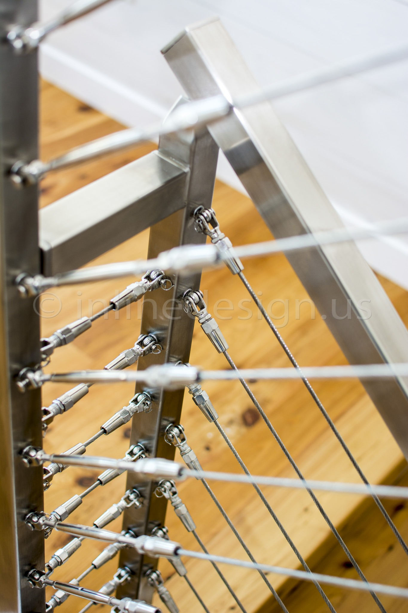 In Line Design : Eric nj modern stainless steel cable and glass railing