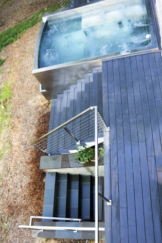 stainless steel cable railing hottub