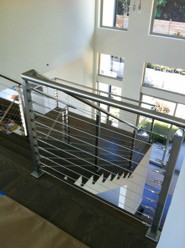 stainless steel cable railing square posts stairs