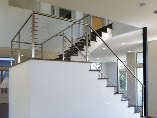 stainless steel cable railing square posts stairway