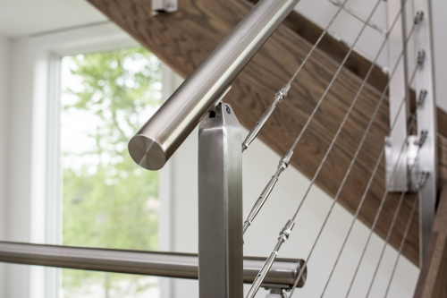 stainless steel cable railing closeup