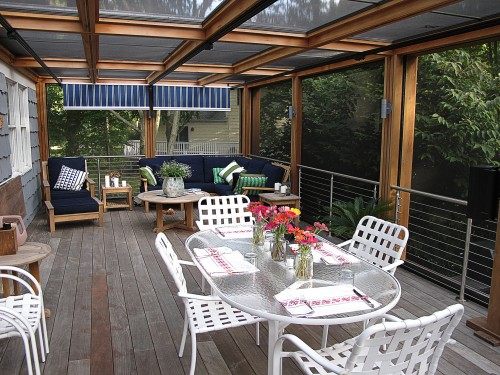 stainless steel cable railing round outdoor deck