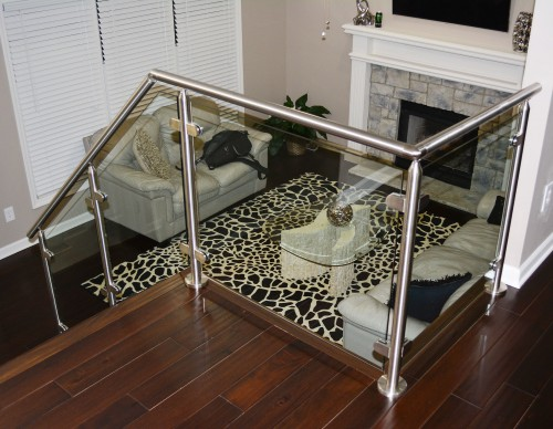 stainless steel glass railing fireplace