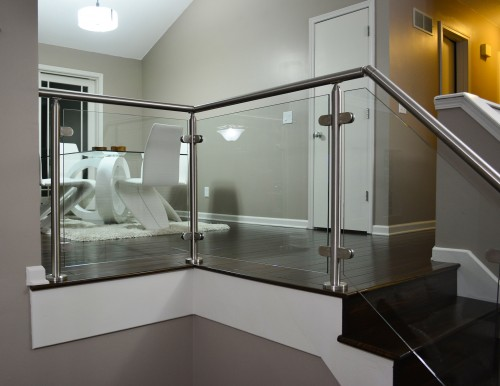 stainless steel glass railing indoor