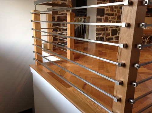stainless steel railing bar system wood post