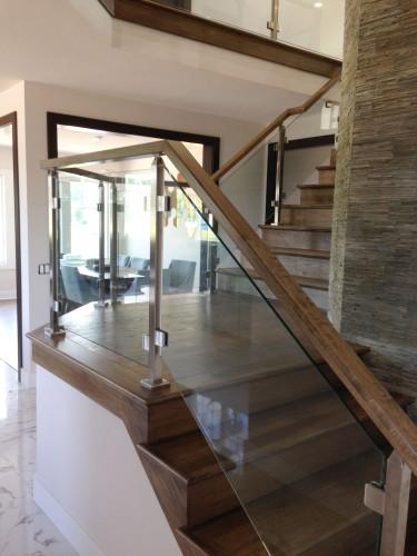 stainless steel glass railing mezzanine entrance