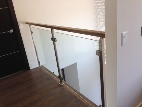 stainless steel glass railing stairs down
