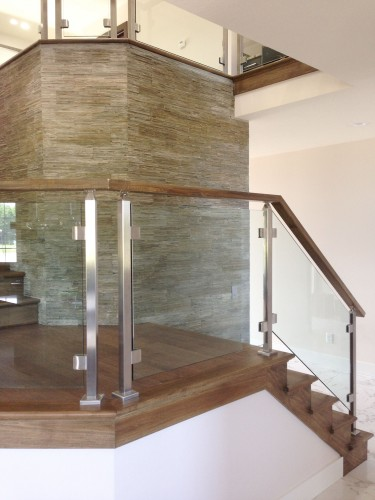 stainless steel glass railing stairs left