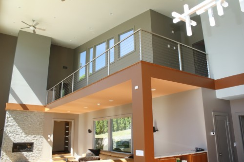 stainless steel cable railing square post living room