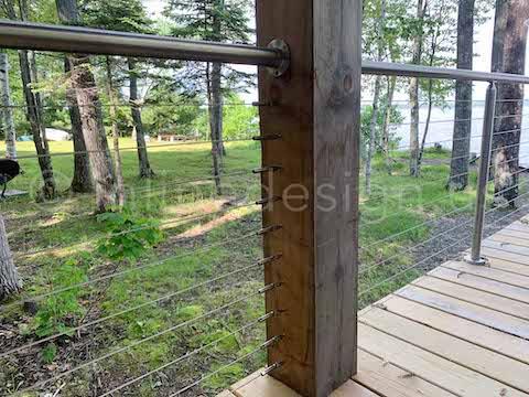 wood post cable railing