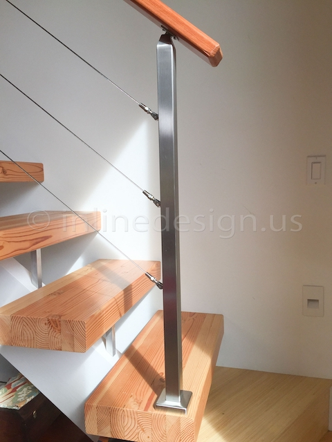 stainless steel cable railing wood handrail