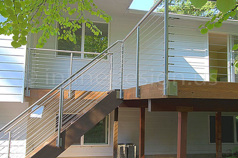 stainless steel deck cable railing fascia corner