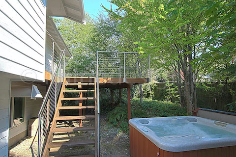 stainless steel deck cable railing fascia hottub