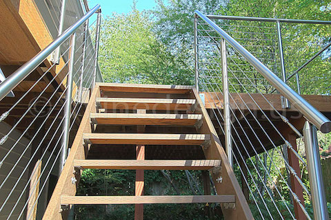 stainless steel deck cable railing fascia stairs up
