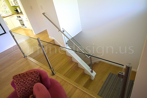 stainless steel handrail stairs top view