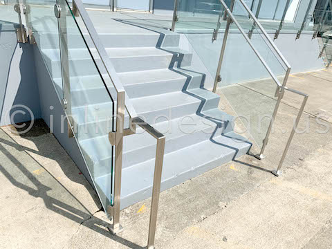 commercial storefront railing glass
