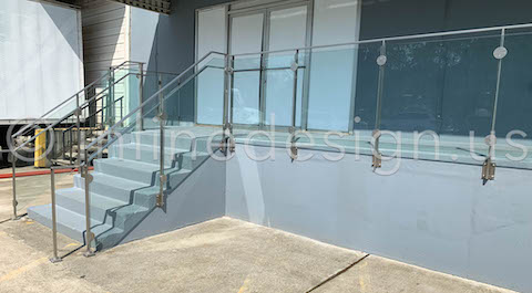concrete outdoor railing glass
