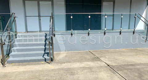 concrete patio stairs stainless