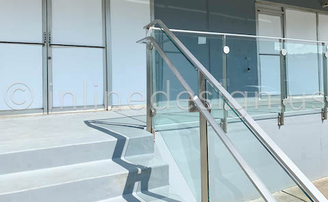 exterior railing glamps glass